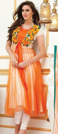 $98.88 Orange Short Sleeve Net Knee Length Anarkali Salwar Kameez 19467