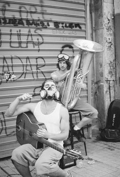 During the #Gezi Park protests, June 2013. Street musicians dress for a gas attack.