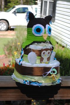 Three Tier Diaper Cake Owl  theme  Green and Brown by argalleryart, $50.0