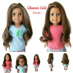 Our Glamor Girl Wig in brunette. Can be parted on the side, center, or not at all.
