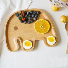 Rubber Wood Cartoon Elephant Plate Interesting Creative Valentine's Day Gift Tableware Wooden Dish alishoppbrasil