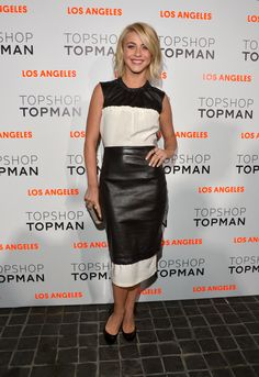 Julianne Hough knows how to layer it up in a chic way. This mixed fabric dress looks great topped off with knee length leather skirt and set off some leather patent heels. A total black and white style.