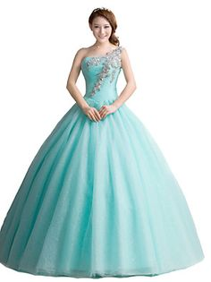 Formal+Evening+Dress+Ball+Gown+One+Shoulder+Floor-length+Tulle+with+Crystal+Detailing+–+USD+$+455.00