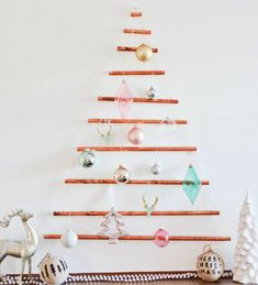 Wall-mounted Copper Pipe Tree Malissa and Machelle (ajoyfulriot) Live Christmas Trees, Creative Christmas Trees, Xmas Tree, Christmas Crafts, Fir Tree, Christmas Time, Christmas Ideas, Christmas Things, Tree Collar