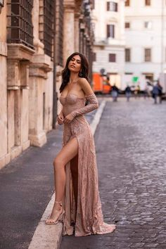 Rose Gold Formal/Prom Gown - Alamour The Label Sexy Dresses, Dress Outfits, Casual Dresses, Prom Dresses, Black Mermaid Dress, Long Dress With Slit, Long Sleeve Gown, Photography Poses Women, Girl Photo Poses