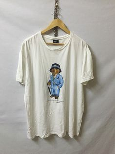 Vintage Authentic Polo Bear by Ralph Lauren White T-Shirt Armpit 24