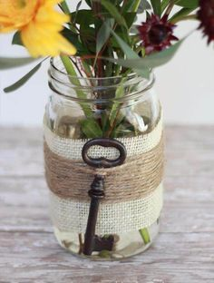 Key & Mason Burlap Wrapped Vase