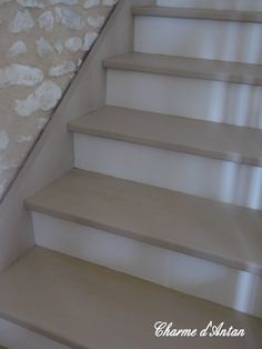 My painted stairs - Charme d'Antan - staircase Decor, Grey Flooring, Room Design, Pretty House, Home Decor, Painted Stairs, Interior Design, Stairs, Grey Floor Tiles