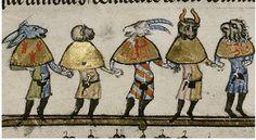 Five Mummers as Ass. Ape. Goat. Ox. Vulture. Flem. 1338-44 MS Bodl. 264 | by tony harrison