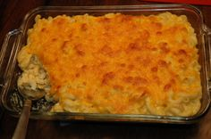 Paula Deen's Baked Mac and Cheese!! So incredibly Yummy!!! If you want the correct recipe, message me. The one you find online is a new one. She has since changed it. The newer one is not nearly as god as her original one! This is a must try!!
