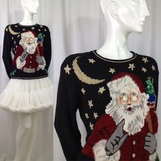 Vintage ugly Christmas sweater 1980s Santa Moon Stars Design Originals Studio