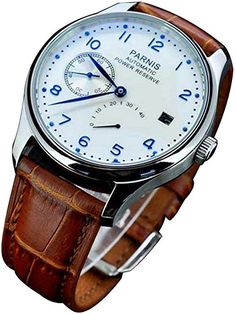 4f32b465bfb Amazon.com  Fanmis Power Reserve White Polit Dial Blue Numbers Automatic  Calendar Men s Watch