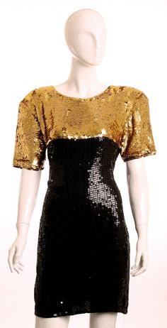 EUC  Vintage 1990's Stenay Gold & Black Silk by LondonCouture, $90.00