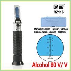 RZ Refractometer Alcohol Alcoholometer meter 0~80%V/V ATC Handheld Tool Hydrometer RZ116 concentration spirits tester wine