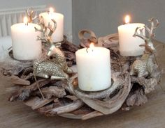 I have made this beautiful Christmas decoration, With 4 count Down candles