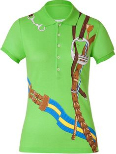Ralph Lauren Green Bridle Print Skinny Cotton Polo Shirt