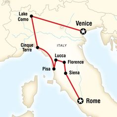 Map of the route for Ultimate Italy