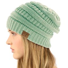 Unisex Winter Chunky Soft Stretch Cable Knit Slouch Beanie Skully Hat Cap  Mint  fashion   2b8448224a2e