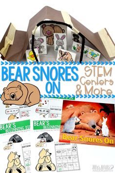 Bear Snores On Actvities for Kindergarten and First Grade. Includes STEM challenge, math centers, literacy centers, and worksheet resources for your classroom. We love this book by Karma Wilson & Jane Chapman. click to see more