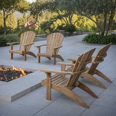 Regency Teak Carmel Adirondack Chair by Regency Teak. Like the fire pit too. Teak Adirondack Chairs, Outdoor Chairs, Outdoor Spaces, At Home Furniture Store, Garden Furniture, Teak Furniture, Outdoor Furniture, Ikea Hanging Chair, Outside Living