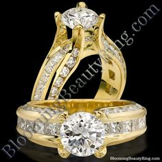#YellowGoldEngagementRings #FloatingDiamond #TensionSet #ChannelSetDiamond #14kGold   http://www.BloomingBeautyRing.com
