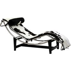 Le Corbusier Chaise Lounge Chair in White & Black Pony Hide