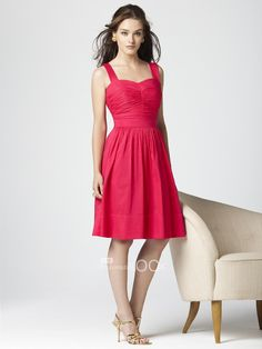 hot pink knee length bridesmaid dress sweetheart neckline