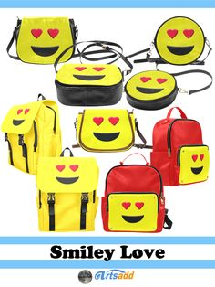 Bags & Backpacks with the cute Emoticon smiley with Heart eyes and a big smile  at #Artsadd #Gravityx9 -