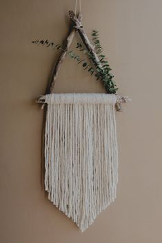Wall Hanging, Eucalyptus Wall Hanging, Driftwood Wall Hanging, Triangle Wall Hanging, Yarn Wall Hanging, Floral Wall Hanging by WillowWindsAndDreams on Etsy https://www.etsy.com/listing/577380767/wall-hanging-eucalyptus-wall-hanging