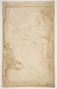 Two Figures in an Architectural Setting: A Female Nude Seated in a Profile View and  a Seated Male Nude in a Three-Quarter View with the Left Leg Bent - circle of Rosso Fiorentino