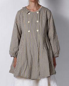 Simple cut striped twillsmock coat with pocket in front. ewa i walla