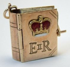9ct Gold & Enamel Miniature Book Charm The Queen 50s