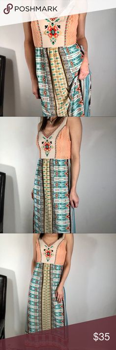 """Flying Tomato dress maxi boho festival Sz S Reasonable offers welcome, some items may be at the lowest price. I will either accept or counter your offer. Bundle for private offer, you can counter my offer, I try to work with you on price. Please no lowball offers.  Brand : Flying Tomato Style: ID12361 Colors are multi color orange green ivory black Size: S VGUC Measures approximately: 16"""" underarm to underarm ( very light stretch) 58"""" long Flying Tomato Dresses Maxi"""