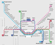 """My former colleague Morten Daae Ingebrethsen did this hillarious translation of the Oslo metro map. As directly translated as possible! Names such as """"Storo"""" is translated to """"Big O"""" because """"stor"""" means """"big"""". Funny for us Norwegians this. City Vector, Map Vector, U Bahn Plan, Holidays In Norway, Underground Map, Norway Oslo, Metro Map, Beautiful Norway, Subway Map"""