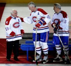 Henri Richard, Larry Robinson and Guy Lapointe lors des célébrations du centenaire de l'équipe le 4 décembre 2009