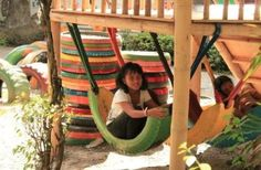 3. Kids will love the half-tire hammock — it can be perfect as an addition to the backyard playground.