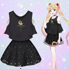 Kawaii anime sailor moon t-shirt/skirt SE10440