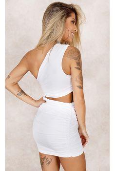 Vestido Maia Drapeado Branco Fashion Closet - fashioncloset