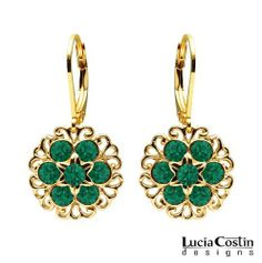24K Yellow Gold Plated over .925 Sterling Silver Dangle Earrings by Lucia Costin Set with Green Swarovski Crystals and Filigree Accents, Adorned with Star Shaped Middle Flowers; Handmade in USA Lucia Costin. $49.00. Floral design accompanied by cute details. Mesmerizing enough to wear on special occasions, but durable enough to be worn daily. Unique jewelry handmade in USA. Wonderfully designed with emerald - green Swarovski crystals. Irresistible dangle earrings ...