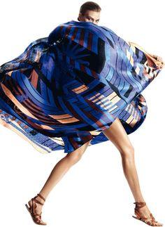 Karlie Kloss in Harpers Bazaar Spain 2013 - Hermes Scarf