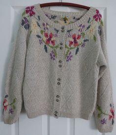 LL Bean Hand Knit Cotton Blend Fair Isle Floral Women's Cardigan Sweater Size S #LLBean #Cardigan