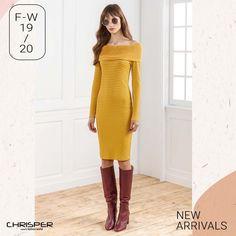 Πλεκτό ώχρα φόρεμα που θα κάνει τη διαφορά και θα τραβήξει τα βλέμματα! Κωδικός: 52306 Shoulder Dress, Sweaters, Dresses, Fashion, Vestidos, Moda, Fashion Styles, Sweater, Dress