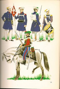 Carlist Inf Officer, Grenadier, Chasseur & Drummer Tortosa Bats, Cavalry General Ordinance Marines, Empire, Army, Military, Sailors, 19th Century, Fictional Characters, Pictures, War