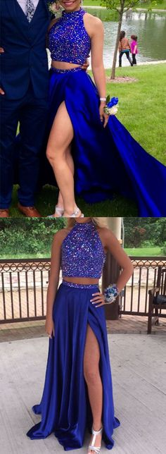 Royal Blue Prom Dresses,Beaded Prom Dresses,Two Pieces Prom Dresses,Sleeveless Prom Dresses,High Neck Prom Dresses,Leg Split Prom Dresses,Sexy Prom Dresses, 2017 Prom Dresses,Fashion Prom Party Dresses,