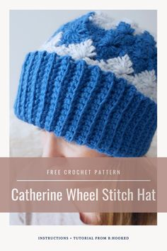 The Catherine Wheel stitch crochet hat uses a non-traditional stitch pattern for a hat meaning you have all the texture & uniqueness you need in a project. #BHooked #Crochet #FreeCrochetPattern