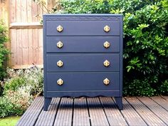 NOW SOLD, but commissions may be available. Vintage oak chest of drawers by Lebus, hand finished in deep blue. by HoneyBadgerFurniture on Etsy