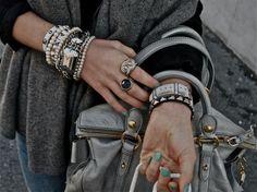 bracelets, rings, nail polish.