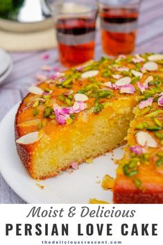 Persian love cake is moist, spongy and will enchant you with its exotic flavors of rose, cardamom, saffron. Luxuriously packed with almonds and sprinkled with pistachios, it is so easy to make! Great recipe for a traditional dessert to serve for wedding p Just Desserts, Delicious Desserts, Dessert Recipes, Yummy Food, Party Desserts, Persian Desserts, Persian Recipes, Love Cake Recipe, Iranian Food