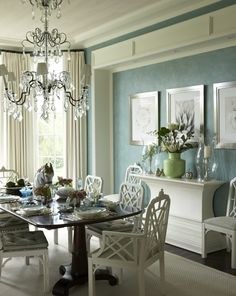 Dining room - white and turquoise palette -Venetian plaster - beautiful chandelier | Gary McBournie Inc