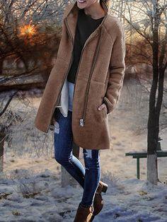 Women Pure Color Zipper Pockets Long Sleeve Fleece Coat at Banggood Winter Coats Women, Coats For Women, Clothes For Women, Fur Casual, Fleece Lined Hoodie, Vintage Coat, High Collar, Types Of Sleeves, Outerwear Jackets